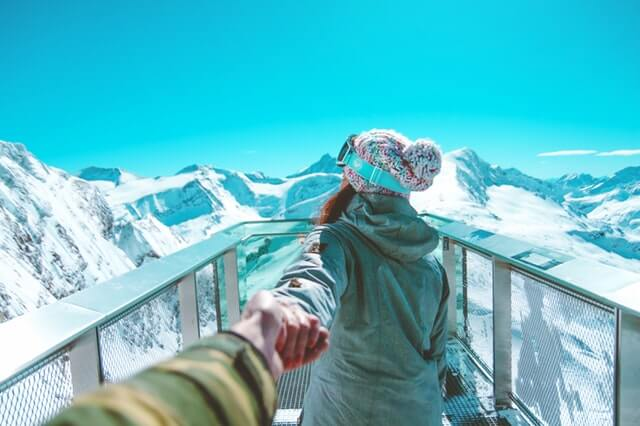 snow view with girl